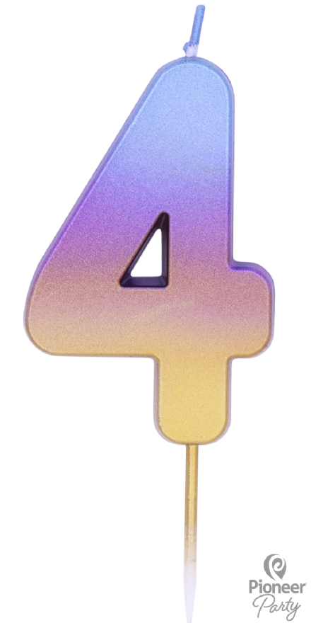 Number 4 Rainbow Ombre Candle